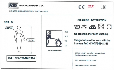 CE certificate on firefighting clothes